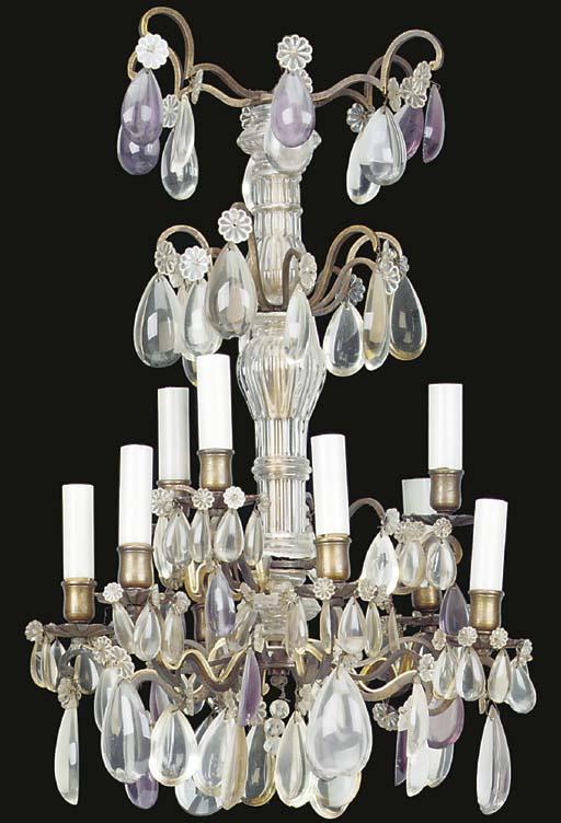 A NINE-LIGHT MOULDED GLASS CHA