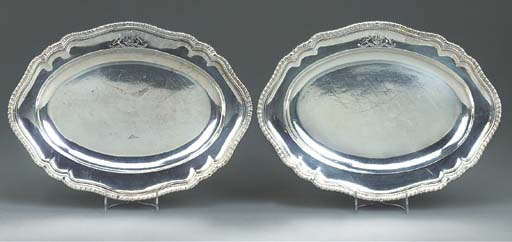 A PAIR OF GEORGE II SILVER MEA