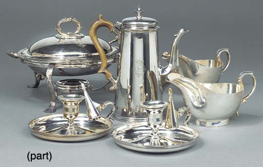A MIXED LOT OF SILVER-PLATED T