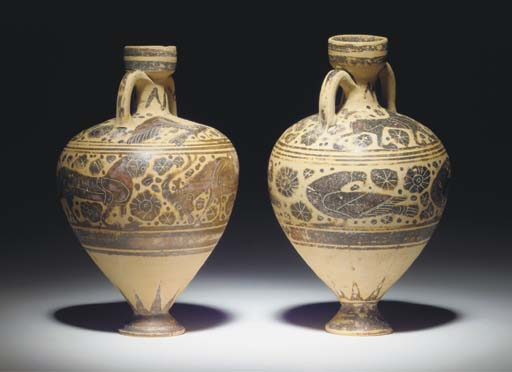 TWO MIDDLE CORINTHIAN POTTERY