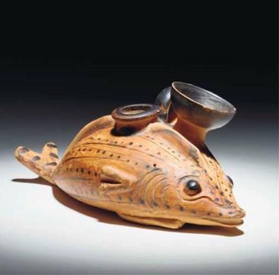 A SICILIAN TERRACOTTA FISH-SHA