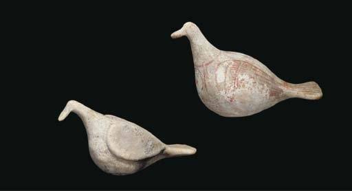 TWO CANOSAN TERRACOTTA DOVES
