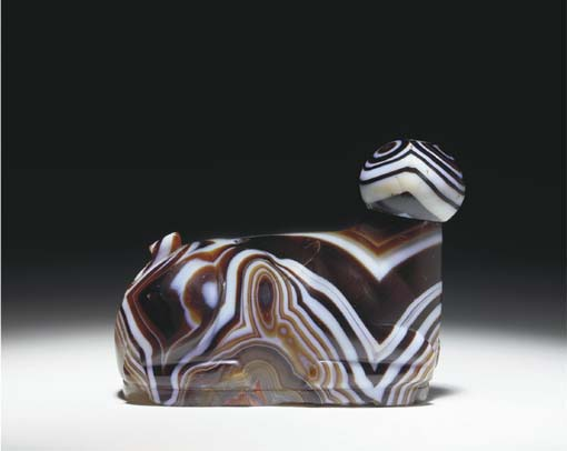 AN ELAMITE BANDED AGATE FIGURE