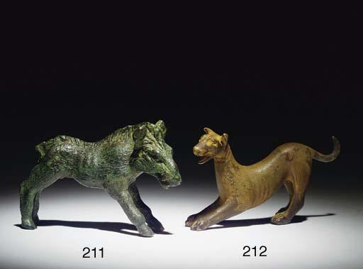 A ROMAN BRONZE FIGURE OF A DOG