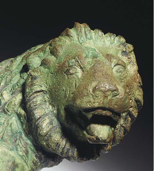 A ROMAN BRONZE COUCH FINIIAL (
