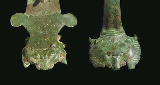 A GREEK BRONZE HANDLE WITH LIO
