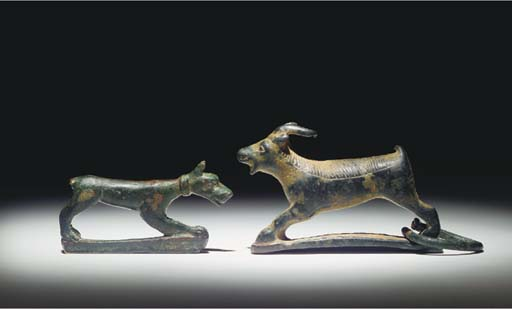TWO GREEK BRONZE ANIMALS FROM