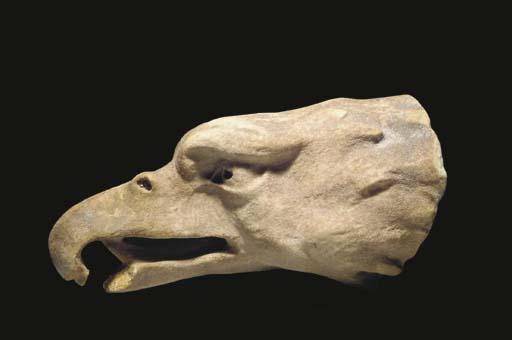 A GREEK MARBLE HEAD OF AN EAGL