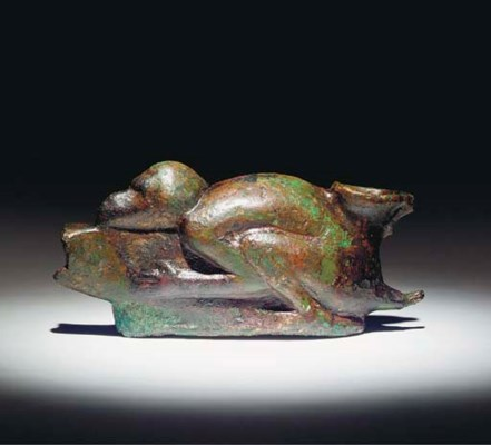 A ROMANO-EGYPTIAN BRONZE LAMP