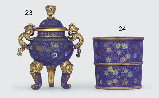 A CLOISONNE ENAMEL BLUE-GROUND