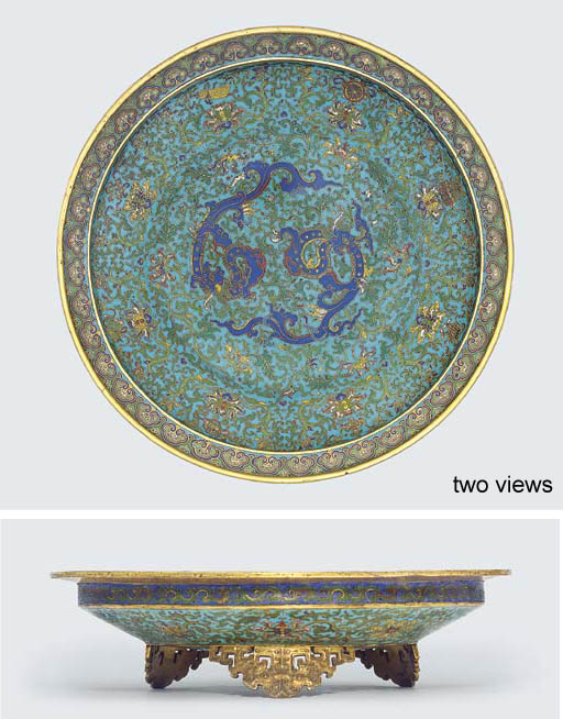 A RARE AND FINE LARGE CLOISONN
