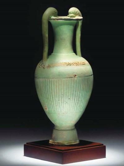 AN EGYPTIAN TURQUOISE GREEN FA