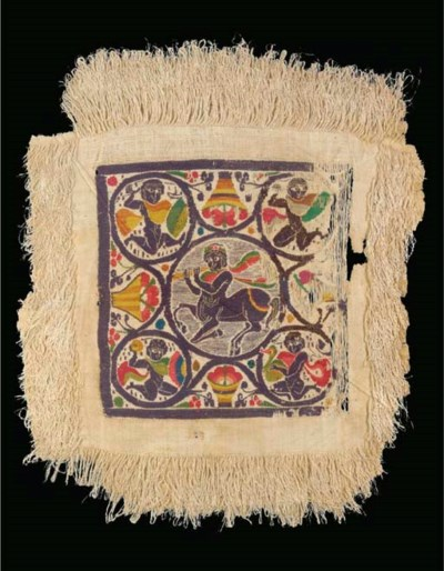 A COPTIC WOOL AND LINEN TEXTIL
