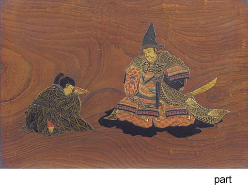 A WOOD AND LACQUER PANEL, A TR