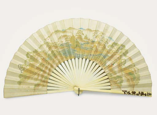 A PAIR OF FANS AND TWO OTHERS