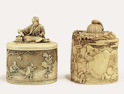 TWO IVORY BOXES AND COVERS
