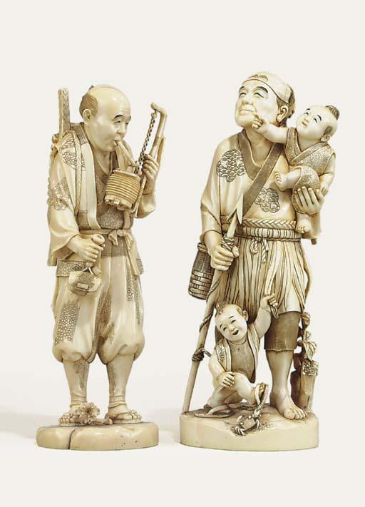 TWO IVORY OKIMONO [SCULPTURAL