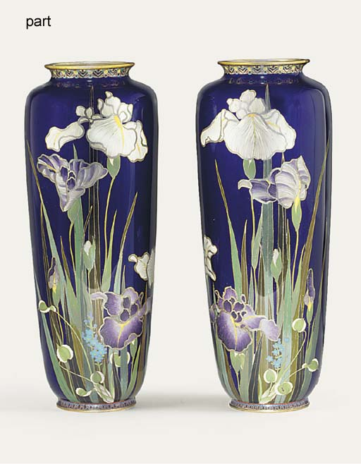 TWO PAIRS OF CLOISONNé VASES