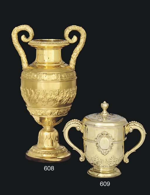 A Victorian silver-gilt two-ha