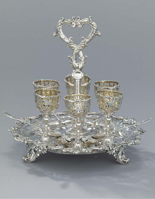 A Victorian silver egg-cruet a