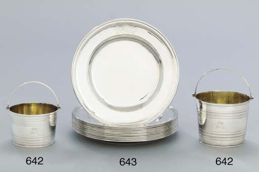 Two George III silver cream-pa