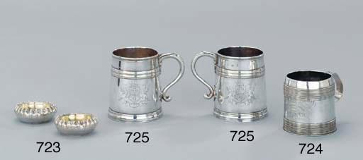 A pair of Queen Anne silver mu