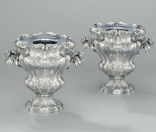 A pair of French silver wine-c