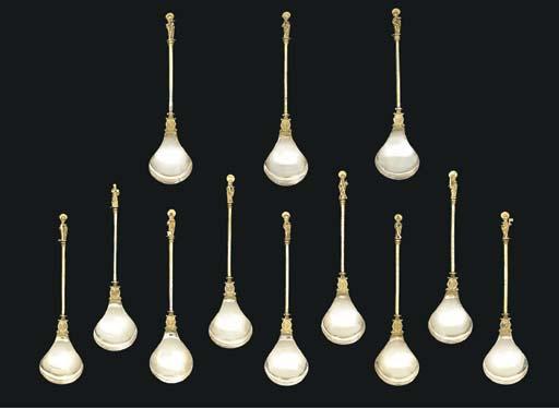A set of twelve German silver-