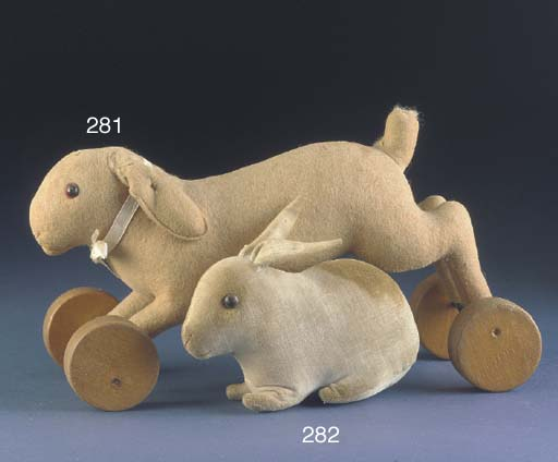 A Steiff cream velvet rabbit r