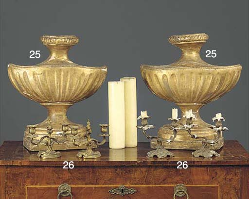 A PAIR OF GILT METAL CANDELABR