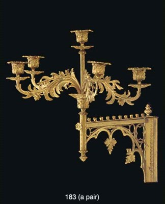 A pair of gothic revival gilt