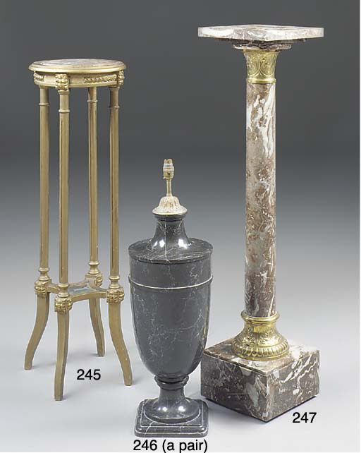 A pair of marble table lamp ba