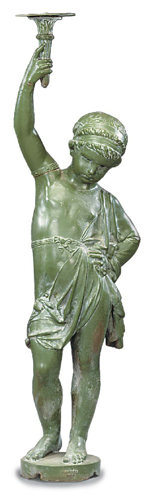 A French green painted cast ir