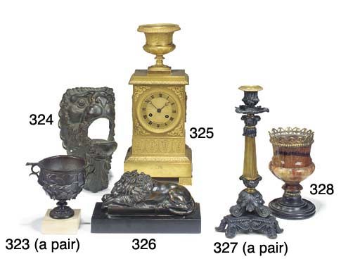 A French bronze and black marb