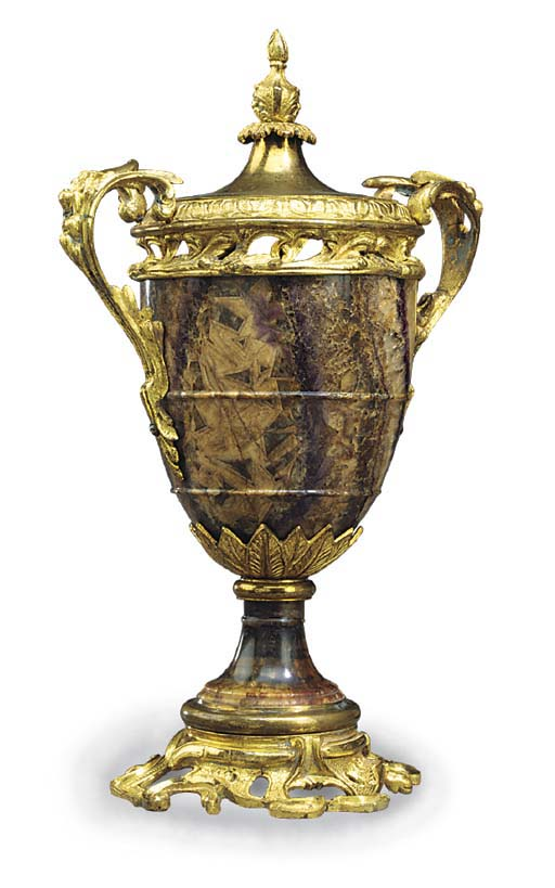 A GILT BRONZE MOUNTED BLUE JOH