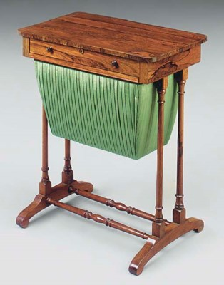A VICTORIAN ROSEWOOD WORK TABL