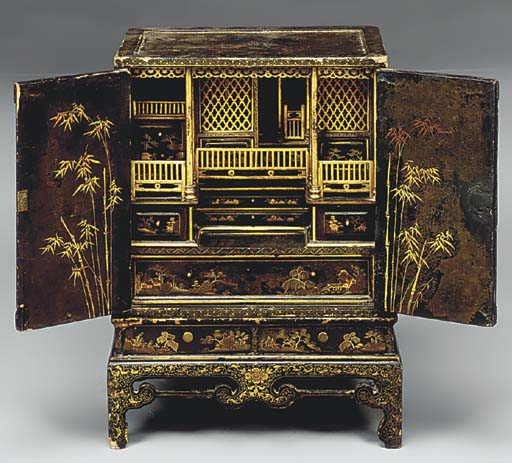 A Japanese lacquer altar cabin