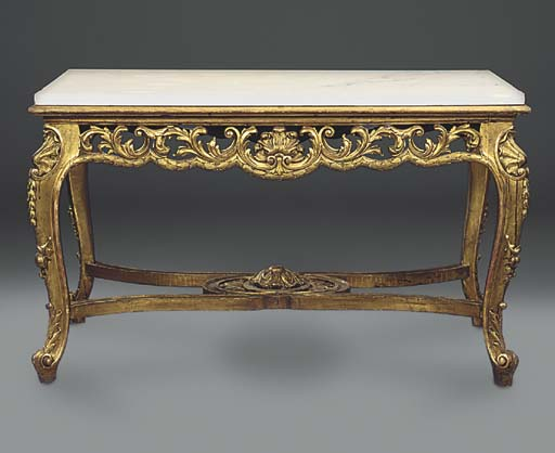 A GILTWOOD CENTRE TABLE