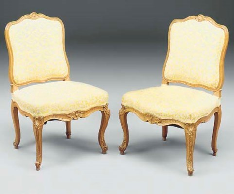 A pair of Louis XV beech and u
