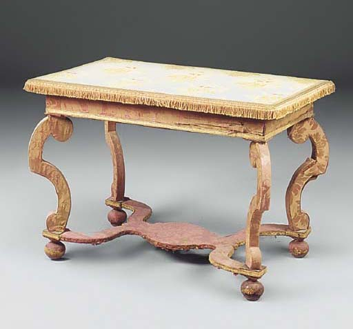 An upholstered centre table