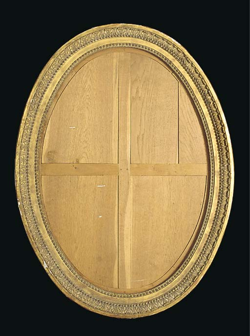A FRENCH OVAL GILTWOOD MIRROR