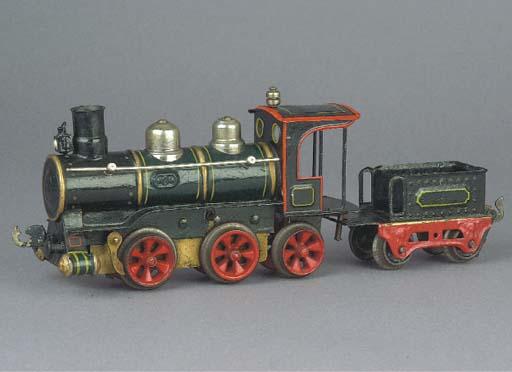 An early Märklin clockwork Locomotive and Tender