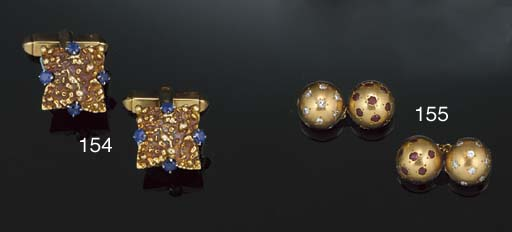 A pair of 18ct. gold and sapph