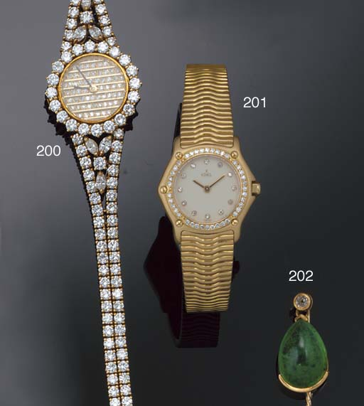 A lady's 18ct. gold and diamon