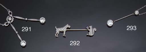 An Art Deco diamond surete pin