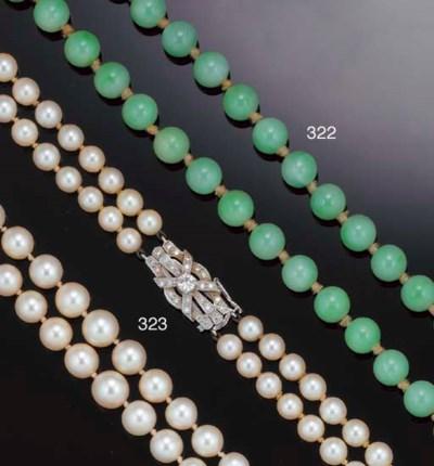A jadeite bead necklace