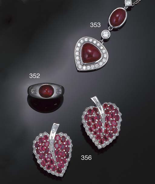 A French ruby and diamond pend