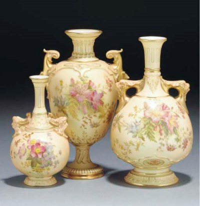 Three Royal Worcester blush-iv