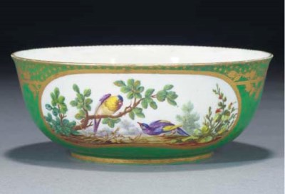 A SEVRES GREEN-GROUND BOWL