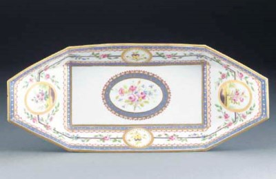 A SEVRES PUNT-SHAPED DISH
